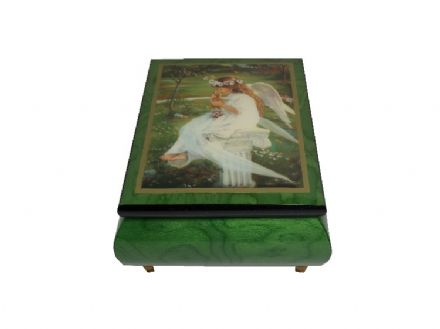 "Green Ercolano Musical Jewellery Box - ""Kitten Kisses"" MSKG0606GRL"